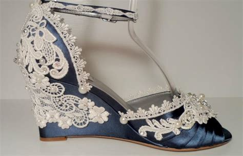 Navy Blue Wedge Wedding Shoes by Navy Blue Three Inch Lace Wedding Wedges S Wedge