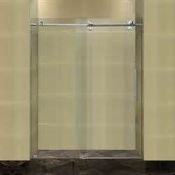 sliding frameless shower doors aston completely frameless 60 quot w x 75 quot h sliding shower