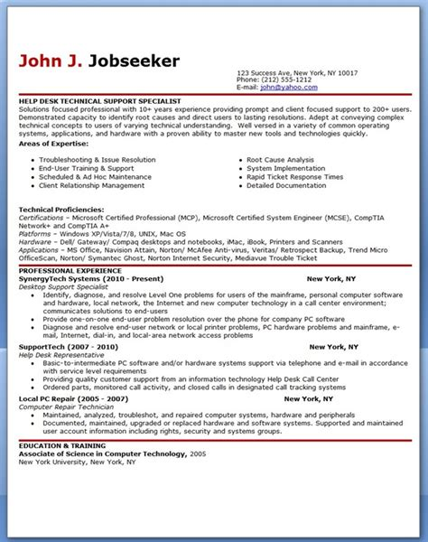 it help desk support resume sle resume downloads