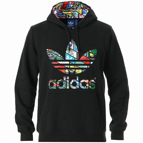 adidas label sweat hoody black multicolor trefoil logo