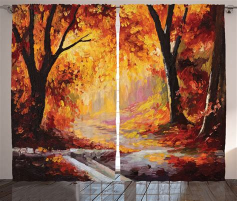 curtain paintings painting of forest with fall leaves season theme artprint