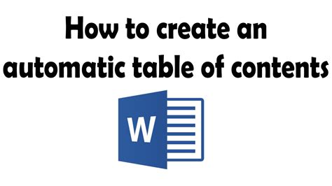 How To Add Table Of Contents In Word 2010 by How To Create An Automatic Table Of Contents In Word 2013