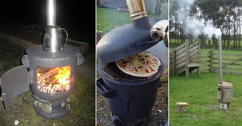 diy portable wood fired pizza oven and patio heater home