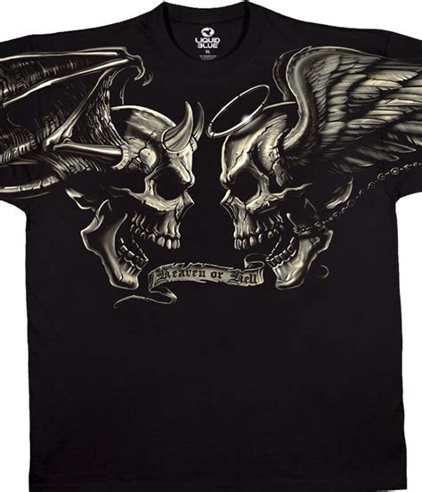 T Shirt Bad Evil skulls and evil black t shirt liquid blue
