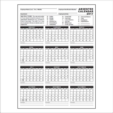 2017 Absentee Calendar Whitneysmith Company Free Printable Employee Attendance Calendar 2018 Pertamini Co