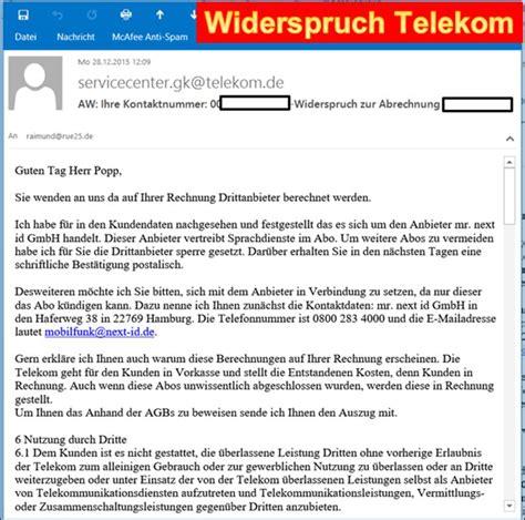 Musterbrief Widerspruch Rechnung Drittanbieter Mr Next Id Telekom Reaktion Auf Widerspruch Bei Der Telekom Programmierer