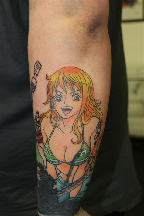 unterarm tattoo one piece nami has been added to this one piece sleeve tattoo