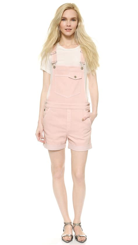 light pink denim shorts stella mccartney denim overall shorts light pink in pink