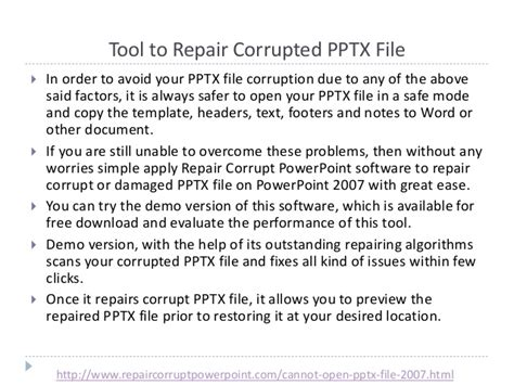 fix your corrupted powerpoint presentation file in few clicks fix your corrupt powerpoint 2007 pptx file that refuses to