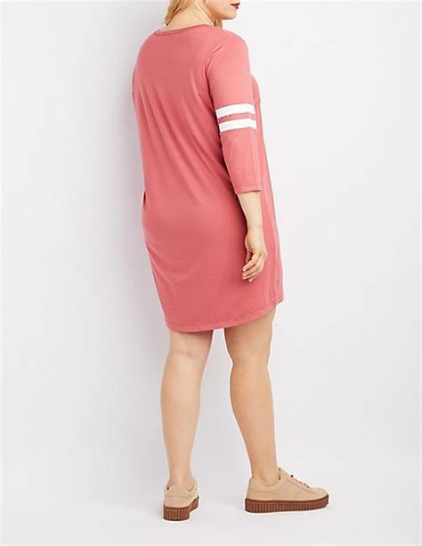 Varsity Plus plus size varsity stripe t shirt dress russe