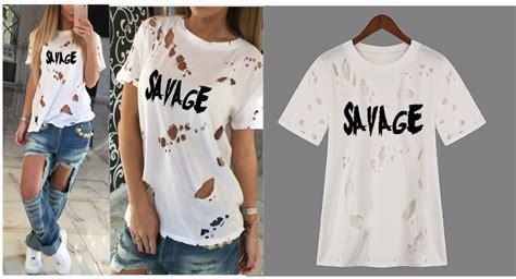savage ripped fashion t shirt kurly