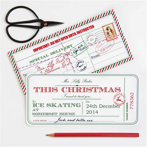 personalised christmas ticket by velvet ribbon