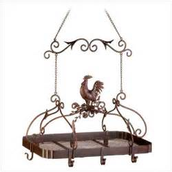 Overhead Pot And Pan Holder Country Rooster Kitchen Rack Pots Pans Hanging Overhead