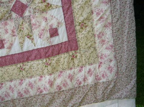 Large Patchwork Quilt - large patchwork quilt with pink roses