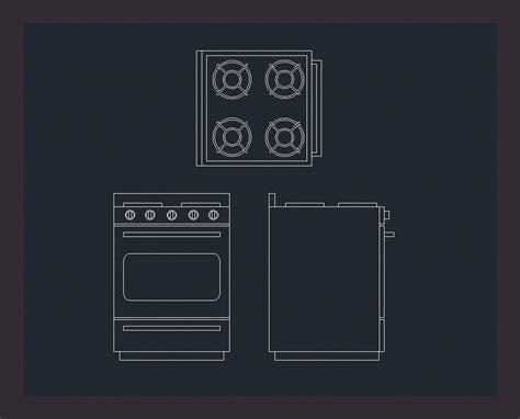 anafe bloque autocad bloque cocina 3 vistas en autocad descargar cad gratis