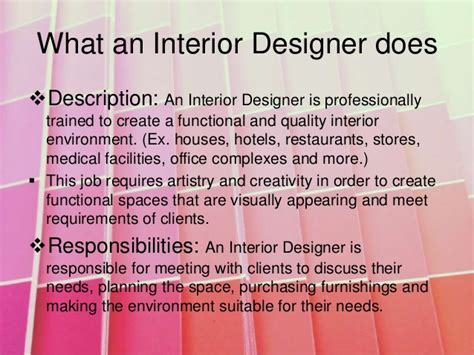 interior design job description interior design