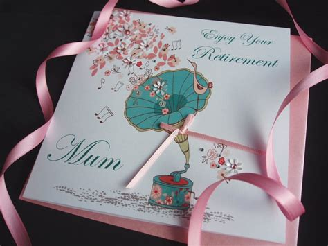 Handmade Retirement Card - handmade retirement card gramophone handmade cards pink