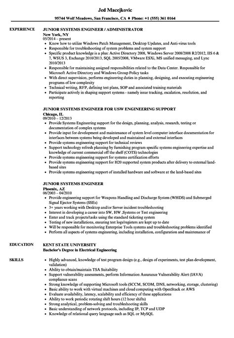 junior system engineer sample resume letter example