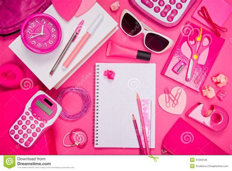 pink laptop desk girly pink desktop and stationery stock photo image