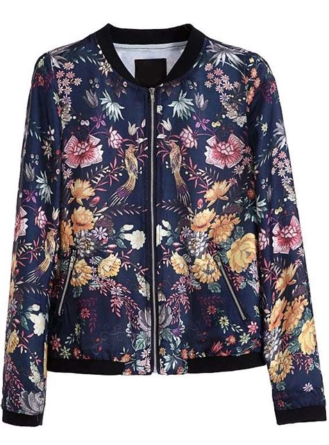 Blue Floral Boomber Printing blue sleeve zipper floral birds print jacket