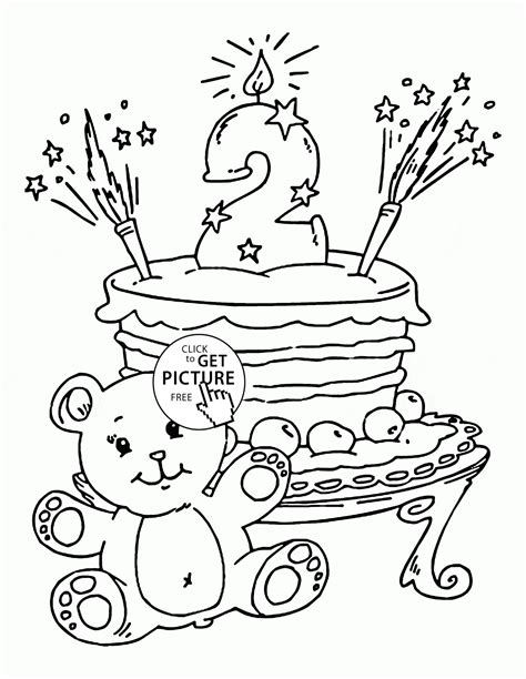 second birthday coloring pages 2nd birthday cake coloring page for kids holiday coloring