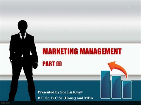 Marketing Manager Mba by Marketing Management Part I
