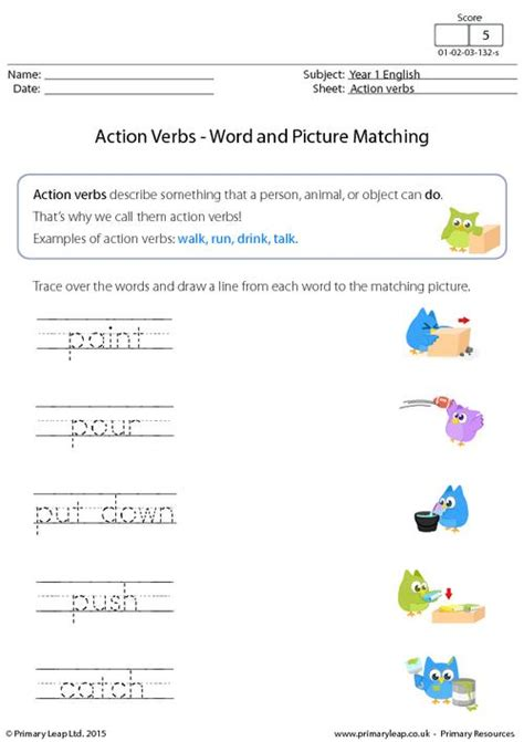 free printable year 1 english worksheets uk action verbs word and picture matching 3 primaryleap
