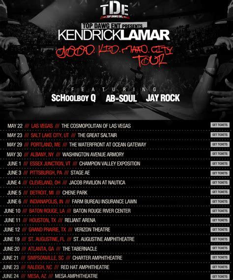 kendrick lamar tour dates kendrick lamar schoolboy q ab soul jay rock u o e n