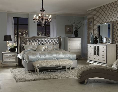 Set Furniture Bedroom Aico Swank Upholstered Bedroom Set