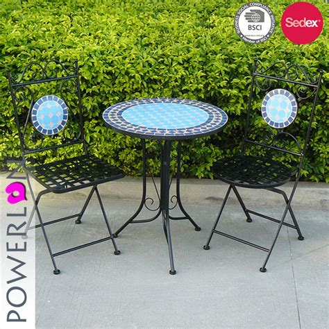 patio table and 2 chairs folding table and 2 chairs metal mosaic garden patio