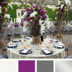 Ivory purple pewter gray   wedding decor   Silver color