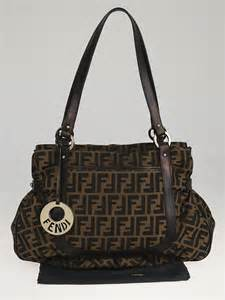 Fendi Large Quilted Chef Purse by Fendi Tobacco Zucca Print Canvas Chef Large Tote Bag