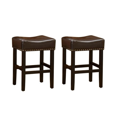 Brown Backless Bar Stools by Noble House Laramie 30 In Chocolate Brown Leather
