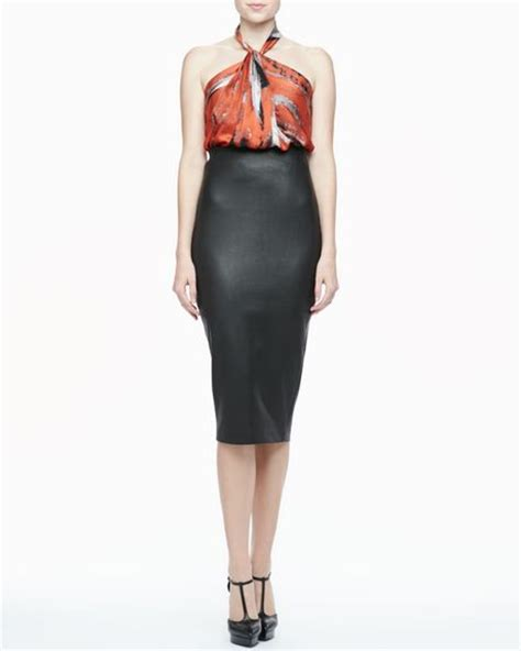 robert rodriguez highwaist leather pencil skirt in black