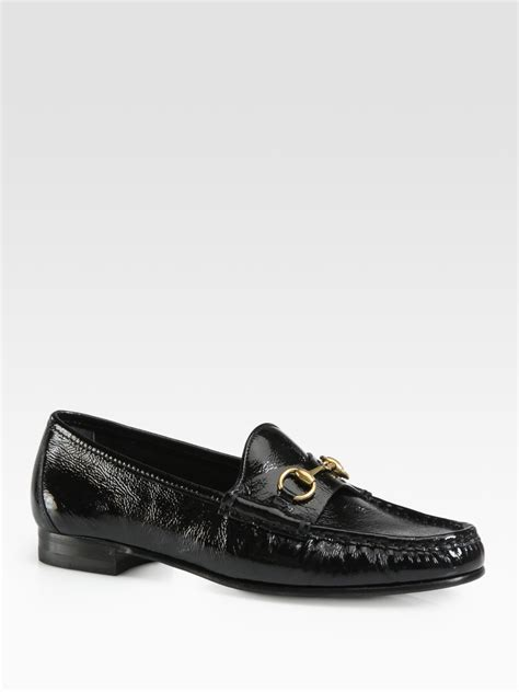 patent leather loafers gucci patent leather horsebit loafers in black lyst