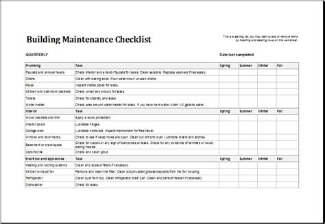 Building Maintenance Checklist Template Excel Templates Building Cleaning Checklist Template