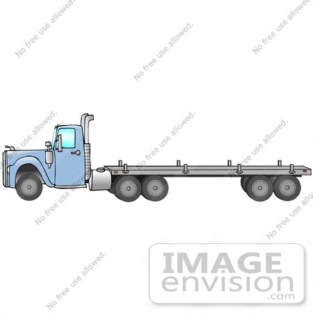 clip art graphic   blue semi truck pulling  flatbed trailer   djart royalty