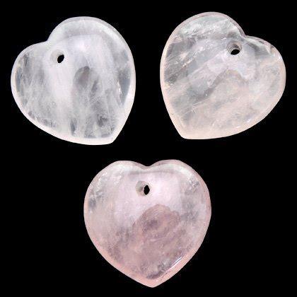 rose quartz crystal hearts