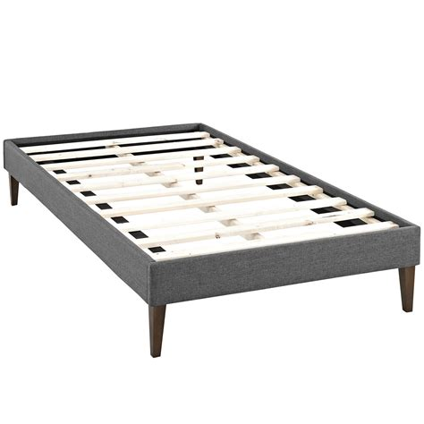 platform twin bed frame sharon modern twin fabric platform bed frame with square legs gray