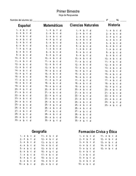 hoja de respuestas resuelta 6 grado 1 bimestre guia3 4to grado b 1