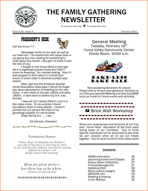 free family reunion letter templates 11 family newsletter template survey template words family