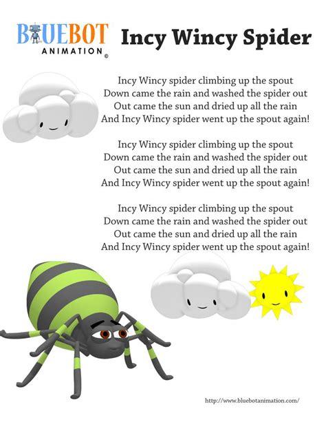 printable lyrics for nursery rhymes incy wincy spider itsy bitsy spider nursery rhyme lyrics