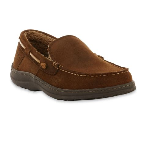 sears mens house slippers craftsman men s ben suede leather moccasin slipper brown