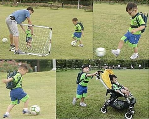 Kereta Bayi Bundar lihat kerennya triplet belajar sepakbola ke dong