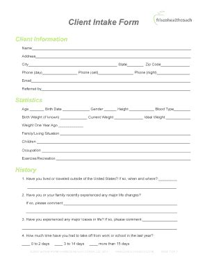 Health Coaching Intake Forms Fillable Printable Coaching Intake Form Template