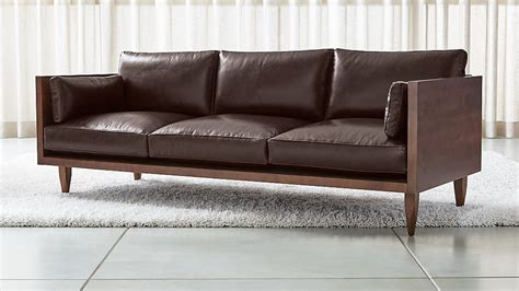 sherwood leather 3 seat exposed wood frame sofa reviews