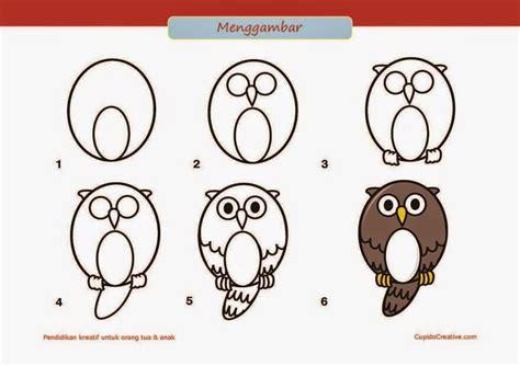 tutorial gambar burung kerajinan anak sd paud cara langkah menggambar burung