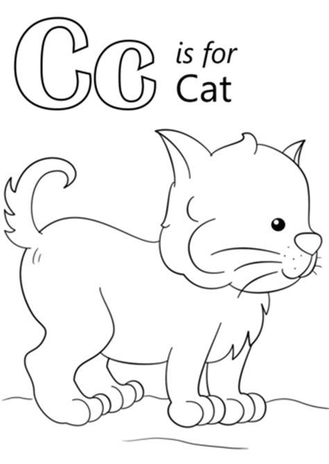 letter c is for cat coloring page free printable
