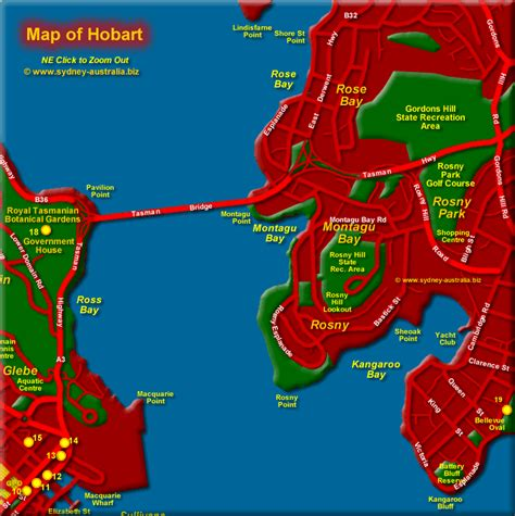 map of hobart city map of hobart showing tourist places tourism info