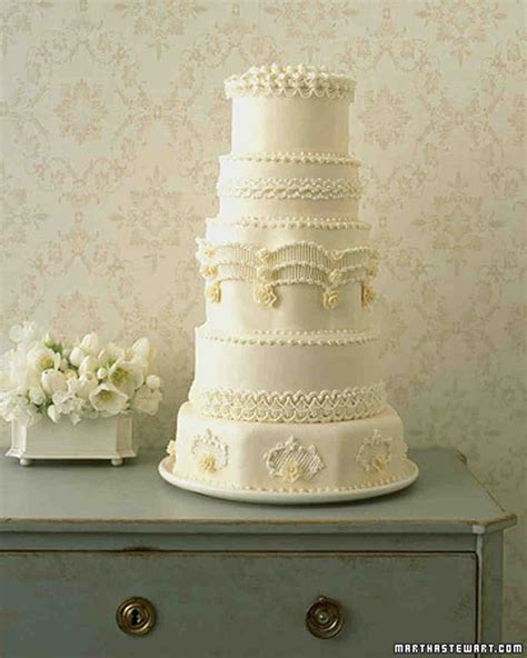 Regal Piped Wedding Cake Recipe   Martha Stewart Weddings